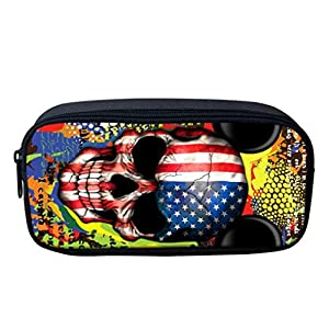 Iuhan 3D Halloween Skull Print Student School College Pen Bag Stationery Case Box Makeup Packet (B)