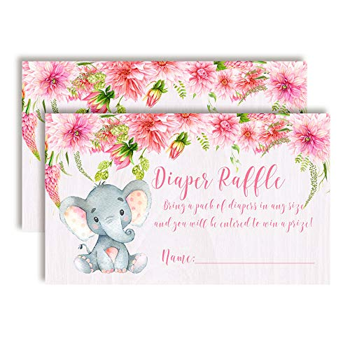 Watercolor Dahlia Floral Elephant-Themed Diaper Raffle Tickets for Girl Baby Showers, 20 2