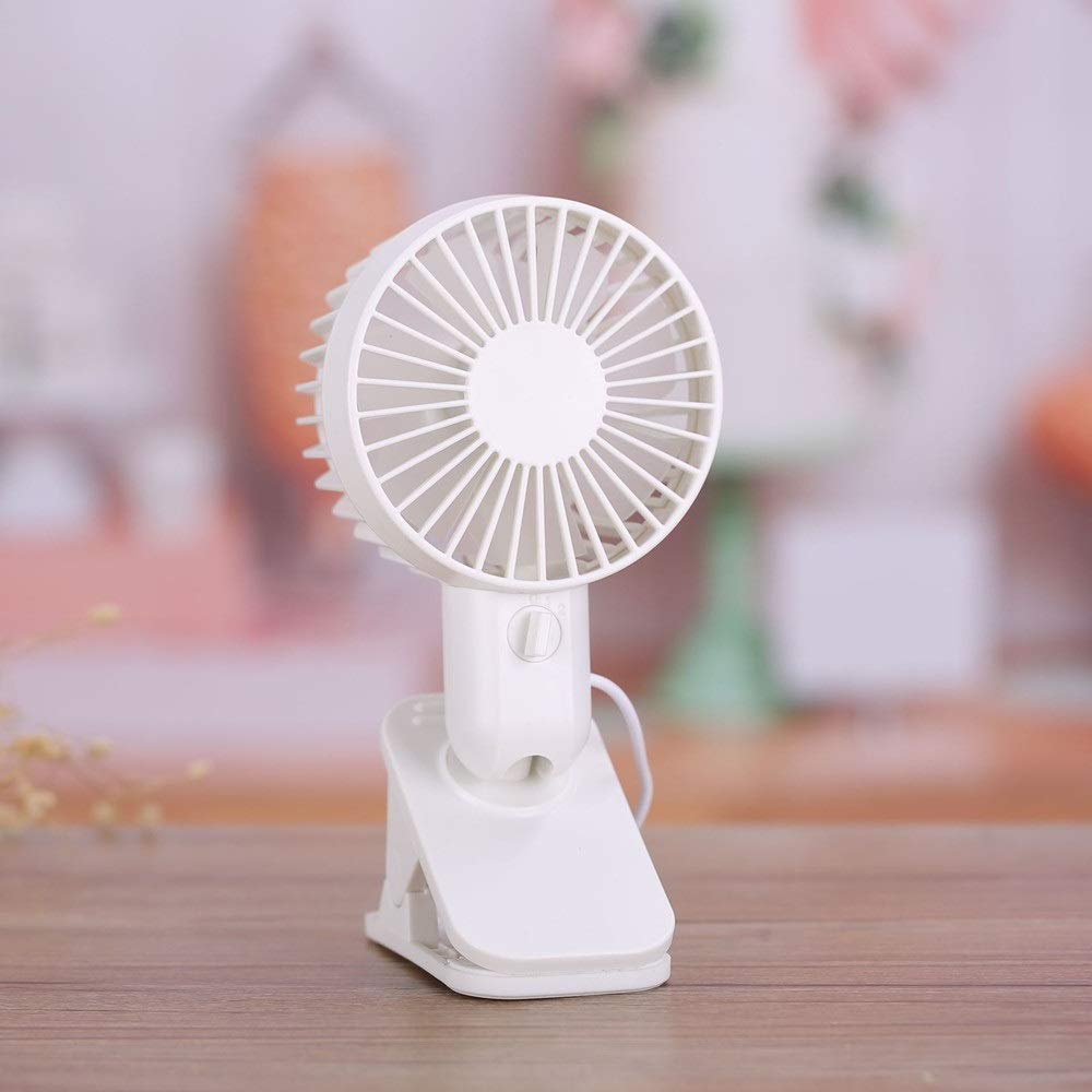 Liuxina USB Rechargeable Battery, Adjustable Wind with 3 Speeds, Personal Clip or Desk Fan Multi Versatile for Travel, Car, Baby Stroller and Outdoor (Color : White, Size : 109.619cm)