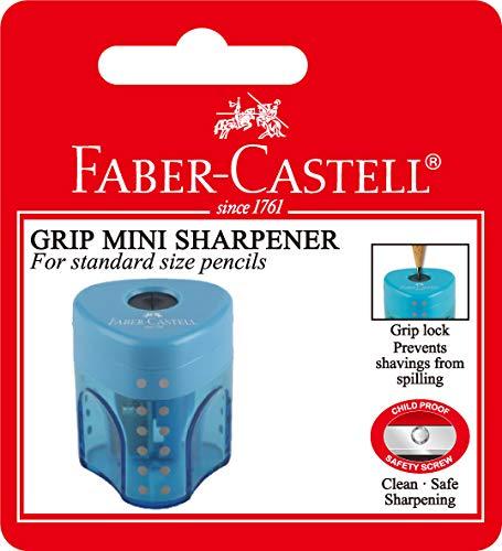 Faber-Castell 183497 Blister 1 mini navaja triangular, 1 agujero, Azul