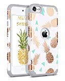 Image of BENTOBEN iPod Touch 5 Case,iPod Touch 6 Case,Hybrid Solid PC Back Cover Soft Silicone Bumper Pineapple Pattern Shockproof Heavy Duty Protective Case Cover for iPod Touch 5th/6th Generation,White/Grey