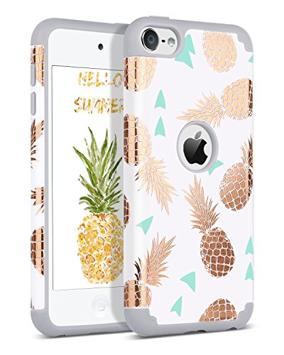 BENTOBEN iPod Touch 7 2019 Case, iPod Touch 6 Case, iPod Touch 5 Case, Hybrid Hard PC Cover Soft Silicone Bumper Pineapple Heavy Duty Protective Case for iPod Touch 7th/6th/5th Generation, White/Grey (Touch Gold Case Ipod)