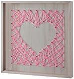 Edge home Products Art 16 by 16 inch Pink on White Wood Heart Framed Yarn