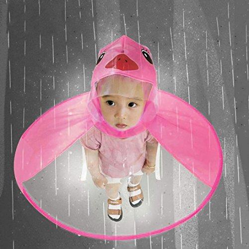 Tpingfe Cute Rain Coat, UFO Children Umbrella Hat Magical Hands Free Raincoat (Hot pink, ()