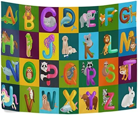 ALAZA Animals Alphabet for Kids ABC Education Preschool Polyester House Tapestries Room D cor 90×60 Inch Style Decorative Wall Blanket