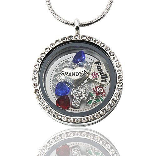AmandaLynn I love Grandma Silver Living locket Floating Locket Necklace with Charms Stainless Steel Gift Set