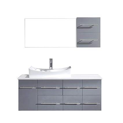 Virtu Usa Ceanna 55 Inch Single Sink Bathroom Vanity Set In Grey W