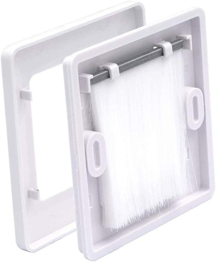 Blanco 49mm x 49mm interior VCE 6 Unidades Placa de pared con cepillos pasacables pared,Embellecedor para la entrada y salida de cables