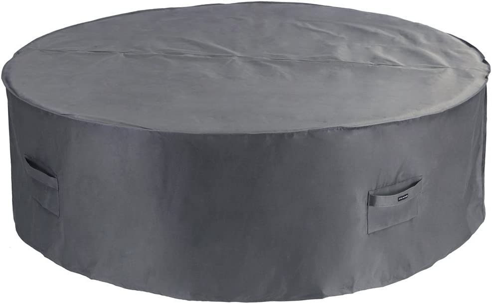 PATIO WATCHER Large Round Patio Table and Chair Set Cover Durable and Waterproof Outdoor Furniture Cover, Grey