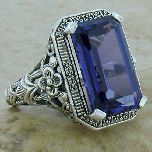 (8 Ct LAB Alexandrite Antique Deco Design .925 Sterling Silver Ring Size 6 KN-1895)
