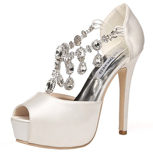 JIAME Womens Peep Toe Stiletto High Heel Platform Pumps T Strap Satin Rhinestones Wedding Bridal Shoes (9BM(US)(Asia 41), Lvory White)