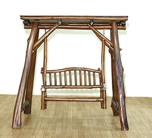 Rustic Weathered Natural Solid Teak Log Style Bench Swing Set ()