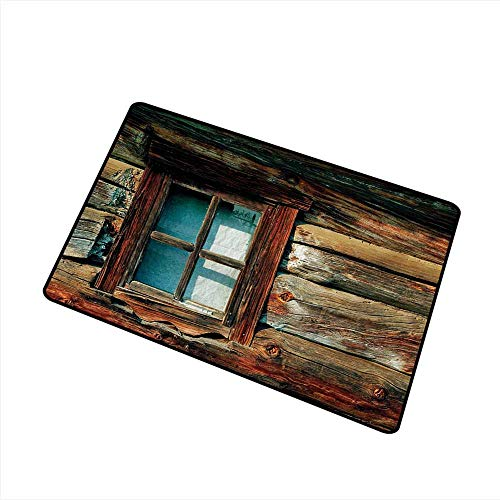 - Axbkl Printed Door mat Scenery Single Window with White Curtain on a Wooden Background Lumberjack House Photo W35 xL47 Anti-Fading