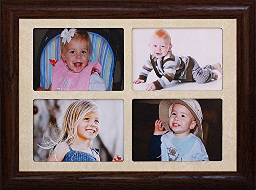 2x3 Wallet Window Picture Frame ~ Holds 4-Landscape 2''x3'' Wallet Photos ~ Gift for Grandparents! (WALNUT)