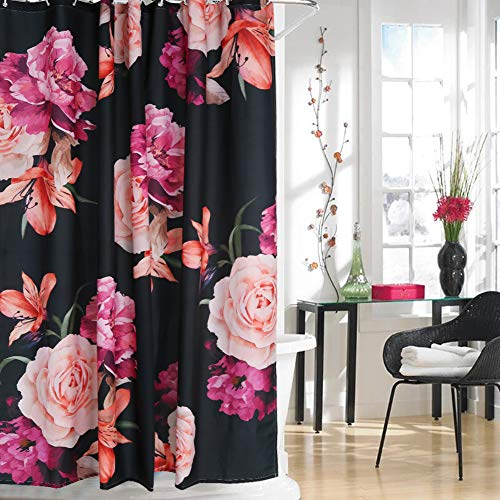 Uphome Floral Fabric Shower Curtain, Black and Purple Shabby Chic Rose Flower 180 GSM Thick Cloth Shower Curtain Water Repellent Pastel Spring Penny Bathroom Curtains for Shower with Hooks, 72 ()