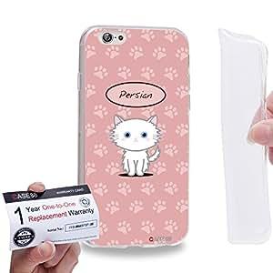 """Case88 [Apple iPhone 6 / 6s (4.7"""")] Gel TPU Carcasa/Funda & Tarjeta de garantía - Art Hand Drawing Persian Cartoon Kitten"""