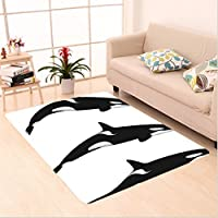 Nalahome Custom carpet Sea Animals Decor Three Orca Killer Whalesin Different Illustration Black And White area rugs for Living Dining Room Bedroom Hallway Office Carpet (5 X 7)
