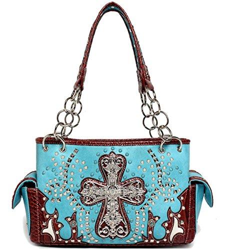 Blancho Bedding occidentale Bag Croce Aqua Con Pietre