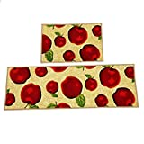 Kitchen Rugs Apple Design Wolala Home Durable Machine Washable Kitchen Rugs and Mats 2pcs Sets Red Apple Design Non-slip Absorbent Kitchen Rug Runner(1'3x2'0+1'3x4'0, Red)