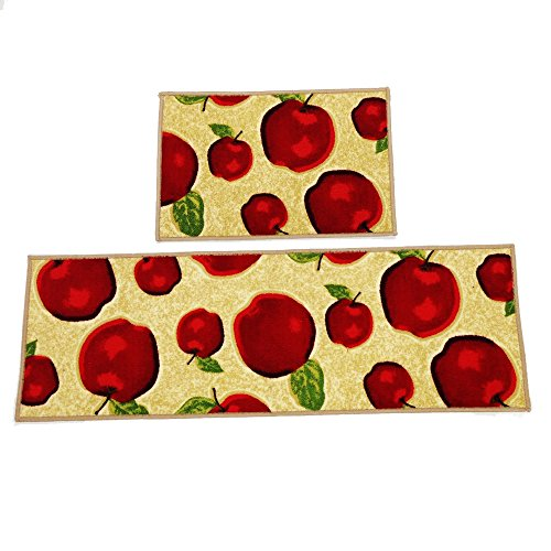(Wolala Home Durable Machine Washable Kitchen Rugs and Mats 2pcs Sets Red Apple Design Non-Slip Absorbent Kitchen Rug Runner(1'3x2'0+1'3x4'0, Red))