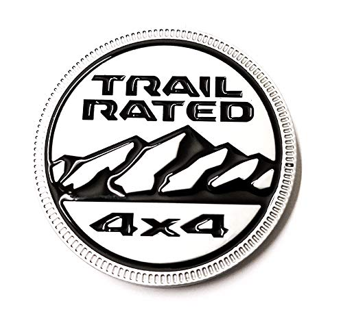 Zcardon 1x Jeep Trail Rated 4×4 Trunk Tailgate Fender 3D Metal Emblem Badge Logo Replacement for Jeep Wrangler 2009-2017 (Silver) ()