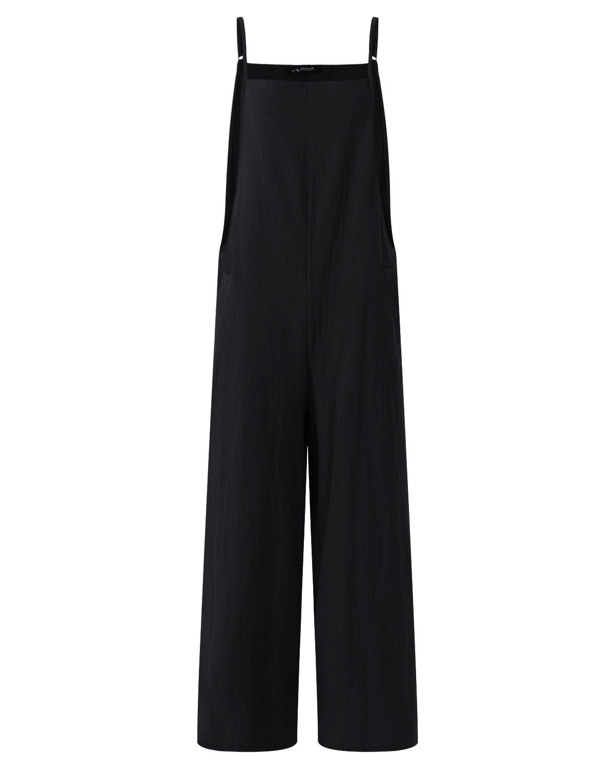 StyleDome Fashion Women Casual Loose Cotton Solid Jumpsuit Long Suspender Overalls Bib Pants Plus Size Romper Black Small by StyleDome (Image #2)