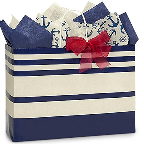 Blue Indigo Stripe Paper Shopping Bags - Vogue Size - 16 x 6 x 12in. - 100 Pack by NW