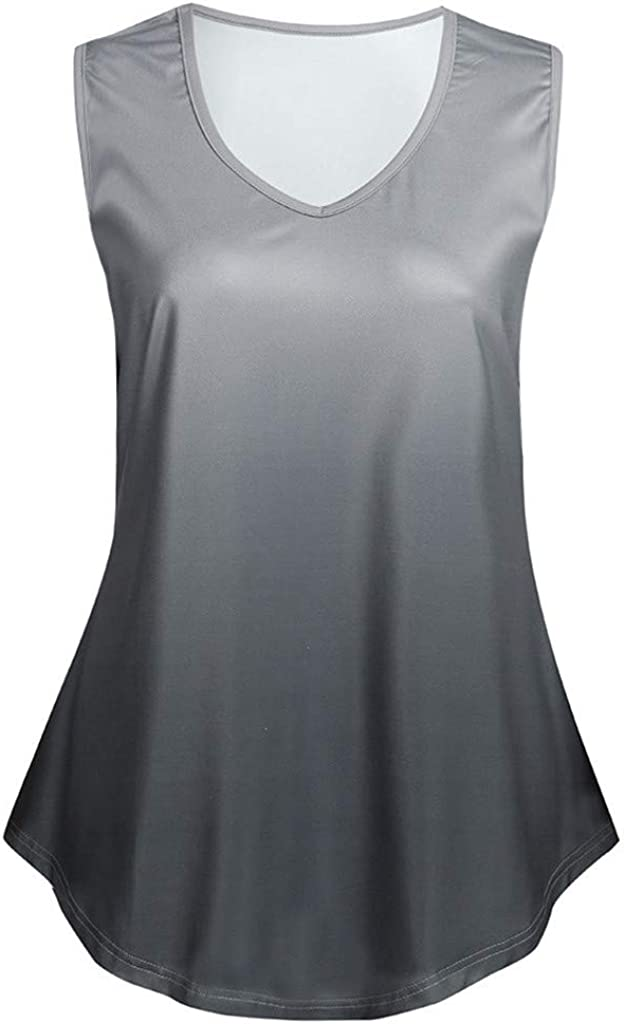 IEasⓄn Tank Tops for Female 2019 Trendy New Women Gradient V Neck Sleeveless Casual T-Shirt Tops Blouse