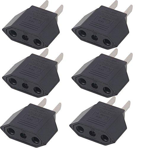 ANRANK E-U1009618AK EU Europe to US USA Travel Power Plug Adapter Converter (Black, 6-Pack)