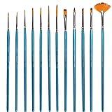 Boxun Detail Paint Brush Set -12 Miniature Brushes for Detailing & Art Painting - Acrylic, Watercolor, Oil - Models, Airplane Kits, Nail Painting