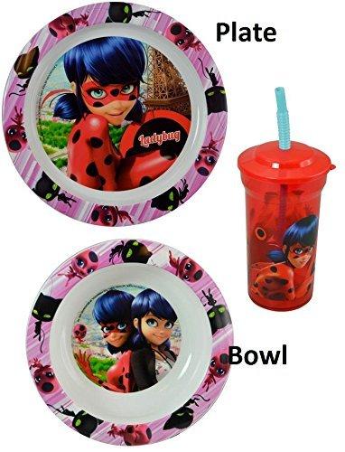 Zak Miraculous Ladybug Kids Plastic Plate, Bowl & Cup Mealtime Gift Set 3 Pieces