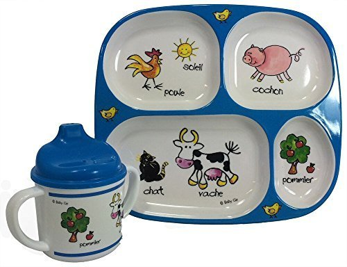Baby Cie Farm Animals, Melamine Plate & Sippy Cup - 2 Piece Set