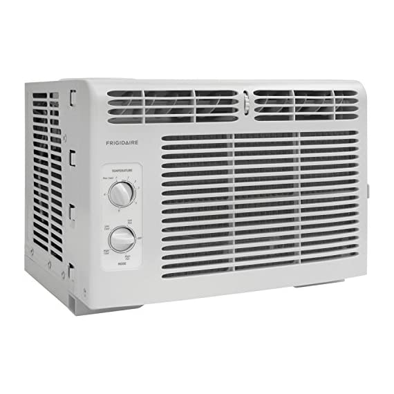Frigidaire FFRA0511R1E 5, 000 BTU 115V Window-Mounted Mini-Compact Air Conditioner with Mechanical Controls 7 5,000 BTU mini-compact air conditioner for window-mounted installation uses standard 115V electrical outlet (Window mounting kit included) Quickly cools a room up to 150 sq. ft. with dehumidification up to 1.1 pints per hour Mechanical rotary controls, 2 cool speeds, 2 fan speeds, and 2-way air direction.Accommodates windows with a minimum height of 13 inches and width of 23 inches to 36 inches