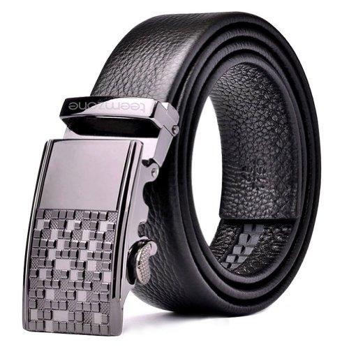 """Teemzone Mens Business Style Top Genuine Leather Rachet Belt Slidebelt Metal Solid Buckle Black (37""""-40"""")"""