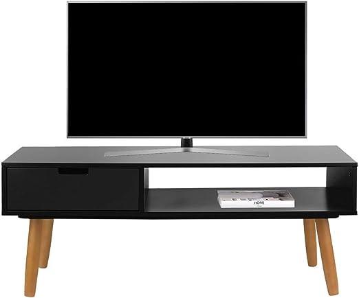 LIFA LIVING Mueble TV Negro, Mesa televisión de diseño Vintage ...