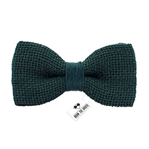 (Rustic Pre-Tied Bow Tie in 100% Burlap Hessian, by Bow Tie House (Small, Green))