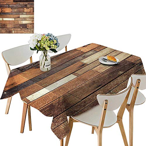 (UHOO2018 Square/Rectangle Polyesters Tablecloth Floor Planks Print Grungy Look Farm House Country Style Walnut Oak Grain Image Wedding Party,23 x 23inch)