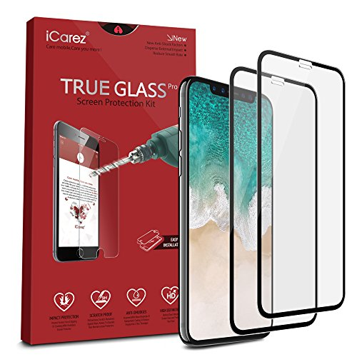 iCarez [Full Coverage Tempered Glass] Screen Protector for iPhone X (Case Friendly) Highest Quality Easy Install [2 Pack 0.3MM 9H 2.5D] with Lifetime Replacement Warranty – Retail Packaging