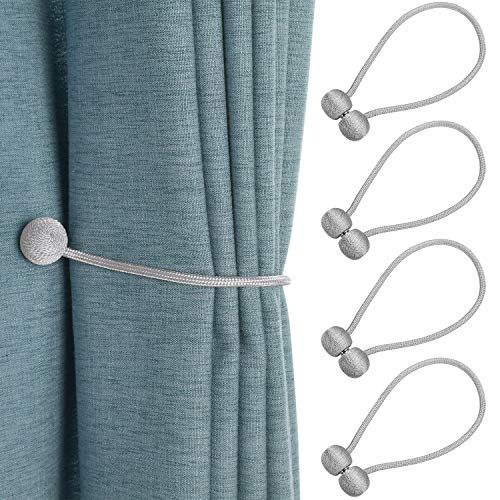 BEWISHOME Curtain Tiebacks Magnetic Decorative Curtain Holdbacks Convenient Drape Tiebacks 4 Pack (2 Pairs), Grey FCL01H (Holdback Decorative)