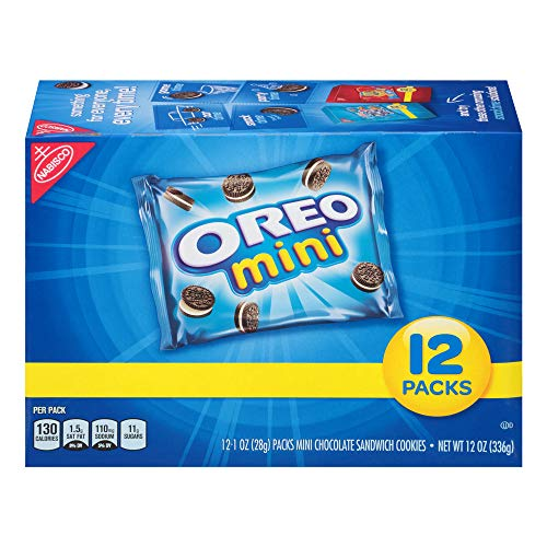 Oreo Mini Chocolate Sandwich Cookies, 12 Count Individual Snack Bags -