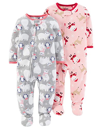 Child of Mine Toddler Girls Christmas Theme Blanket Fleece Footed Pajamas - 2 Pack (3T)