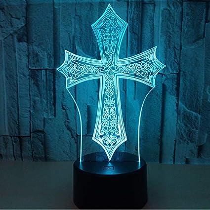 3d Nachtlichter Fernbedienung Kreuz 3d Nachtlicht Kreative Elektrische Illusion 3d Lampe Led 7 Farbwechsel Usb Touch Schreibtischlampe Für Geschenk Des Kindes Beleuchtung