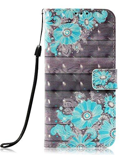 Galaxy J7 Aero Case, J7 2018/J7 Aura/J7 Crown/J7 Top/J7 Refine/J7 Eon/J7 Star Case, JanCalm [Kickstand][Card/Cash Slots][Wrist Strap][3D Painted] Pattern PU Leather Flip Cover + pen (Blue Flower)