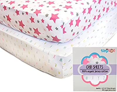 Best Organic Crib Sheets for Baby Girls, 2 Adorable Fitted Pink & White Alphabet and Stars Sheet Set & Bonus Washcloth Gift, Fits All Standard Crib's Mattresses for Babies Nursery Room, Extra Soft!