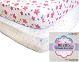 #4: Fitted Crib Sheets - 100% Organic Jersey Cotton - 2-Pack, Soft, Breathable, Fits all Standard Baby Cribs & Mattresses, Cute Designs for Girls