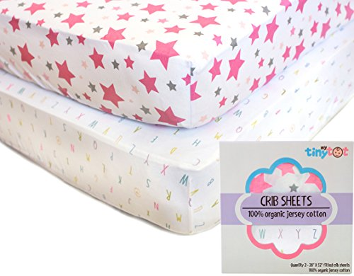 Nursery Bedding for Baby Girls - My Tiny Tot - Organic, Extra Soft, Fitted Pink & White Alphabet and Stars Sheet Set - Fits All Standard Crib's Mattresses for Babies Nursery Room