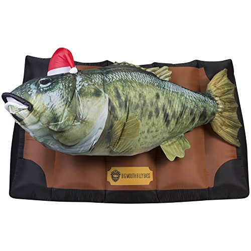 Gemmy Airblown Inflatable Photorealistic Animated Billy Bass Wearing Santa Hat With Music - Indoor Outdoor Holiday Decoration, 6.5-foot Wide x 4-foot Tall