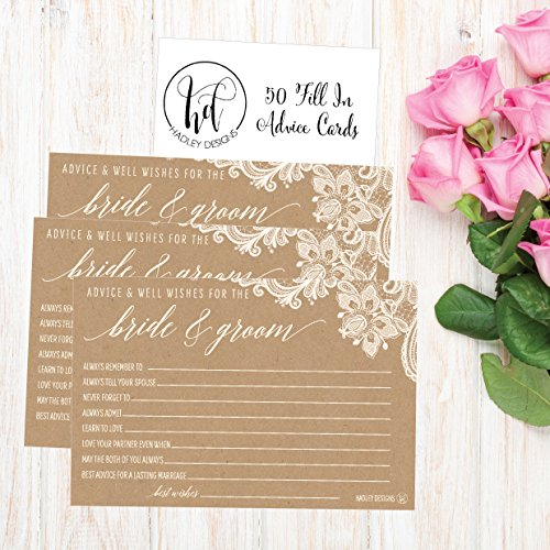 50 4x6 Kraft Rustic Wedding Advice & Well Wishes For The Bride and Groom Cards, Reception Wishing Guest Book Alternative, Bridal Shower Games Note Card Marriage Best Advice Bride To Be or For Mr & Mrs Photo #2