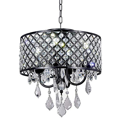Diamond Life 4-Light Antique Black Round Metal Shade Crystal Chandelier Pendant Hanging Ceiling Fixture