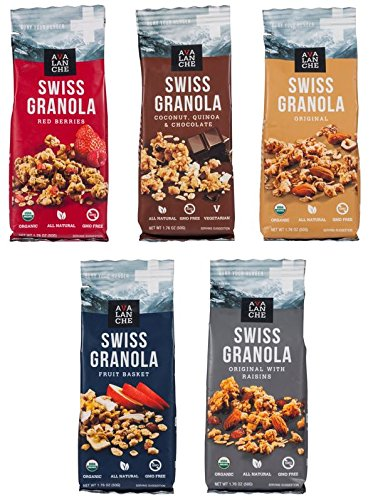 Avalanche Swiss Granola Assorted (Pack of 5), 1.76 Ounce Bag, All Natural, Kosher, Original Organic, Original w Raisins Organic, Red Berries Organic, Fruit Basket Organic, Coconut, Quinoa, Chocolate